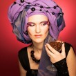 Young womin violet turban — Stock Photo #40385395