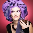 Young womin violet turban — Stock Photo #40563983