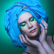Stock Photo: Young womin blue turban
