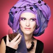 Young womin violet turban — Stock Photo #40722681