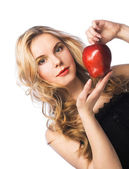Girl wiht red apple — Stock Photo