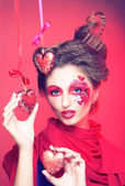 Young woman with creative make-up — Stock Photo