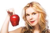 Girl wiht red apple — Stock Photo