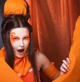 Orange girl. — Stock Photo
