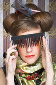 Woman with combs. — Stock Photo