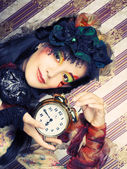 Girl with clock. — Stockfoto