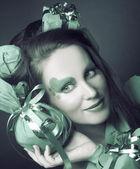 Woman in green. — Stock Photo
