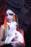 Young lady with cat. — Stok fotoğraf
