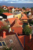 Gudhjem with red roofs, Bornholm Island, Denmark — Stock Photo