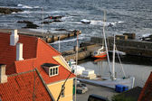 Storm on the sea Gudhjem, Bornholm Island, Denmark — Stock Photo