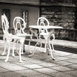 Old forgotten garden table and chairs — Stock Photo #50723423