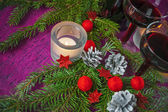 Christmas and New Year card with candle — Stock Photo