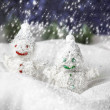 Pair of happy snowmen — Stock Photo