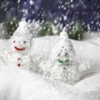 Pair of happy snowmen — Stock Photo #18095783