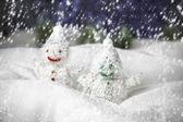 幸せな雪だるまのペア — ストック写真