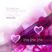 Art abstract background with pink hearts motive as greeting card — Stock Photo