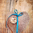 Decoration on Wooden background with fabric Heart — Stockfoto