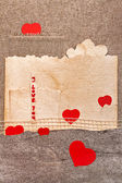 Art greeting card on vintage background with heart, old paper, f — Stock Photo