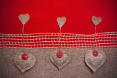 Art retro background with fabric Hearts for or design — Stock Photo