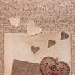 Art greeting card on vintage background with heart, old paper, f - Stockfoto