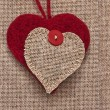 Art retro background with fabric Hearts for or design - Stockfoto