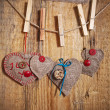 Stock Photo: Decoration on Wooden background with fabric Hearts and words Val