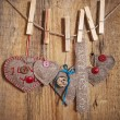Decoration on Wooden background with fabric Hearts and words Val — Stockfoto