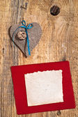 Decoration on Wooden background with fabric Heart and blank card — Stock Photo