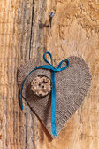 Decoration on Wooden background with fabric Heart — Stock Photo