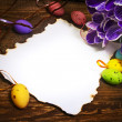 Easter decoration blank empty letter card vintage eggs crocus — Stock Photo