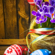 Art easter background with fence, eggs, spring flowers, blank ca — Stock Photo #19563197