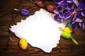 Ostern dekoration leer leere brief karte vintage eier krokus — Stockfoto