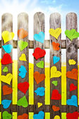 Heart fence hearts love meny colour Valentines Day paper — Stock Photo