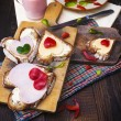 Breakfast hearts sandwiches boards food buttermilk knife — ストック写真