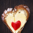 Hearts sandwich shape bread food — Stok fotoğraf