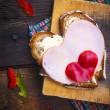 Hearts sandwich shape bread food — Stock Photo #20050627