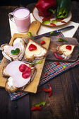 Breakfast hearts sandwiches boards food buttermilk knife — Stock Photo
