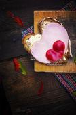 Cibo di cuori panino forma pane — Foto Stock