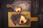 Hearts sandwiches boards shape breakfast food — Stock Photo