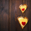 Heart sandwich shape wood board peppers food — Stock Photo #20382049