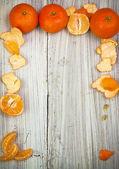 Arte vintage sfondo arancione bordo tavolo bianco legno — Foto Stock