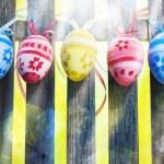Art Easter Egg background fence card spring flower — Stock Photo #21562927