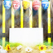 Art Easter Egg background fence card blank spring flower eggs — Stock Photo