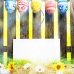 Art Easter Egg background fence card blank spring flower eggs — Stock Photo #21563281