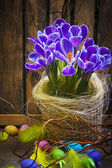 Art Easter Egg basket wooden card crocus spring flower feather — Stock Photo