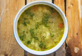 Soup vegetable calafior dill wooden — Stock Photo