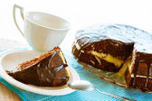 Kakao tårta efterrätt brownie söta kaffe kopp — Stockfoto