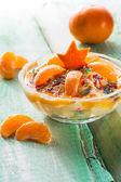 Orange cream dessert fruit wooden board — Stock Photo