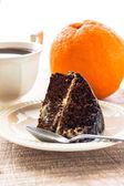 Cake dessert brownie cocoa sweet coffee cup — Stock Photo