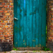 Stock Photo: Door wicket gate wooden old wall brick red